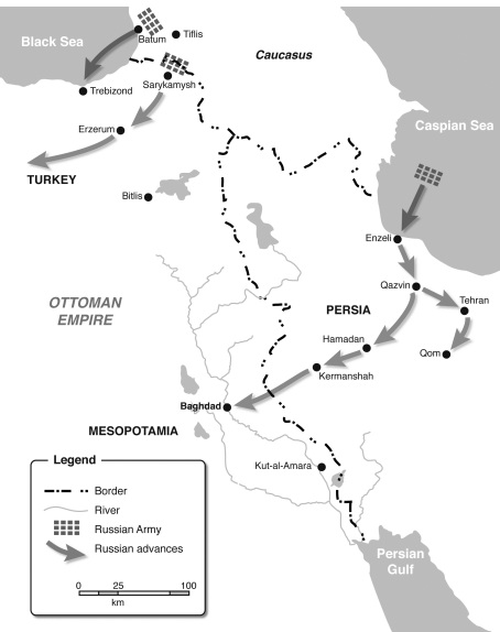 The Caucasus and Persian campaign, 1915-16 (map by Pierre Bertran, from Paul Robinson, 'Grand Duke Nikolai Nikolaevich: Supreme Commander of the Russian Army).
