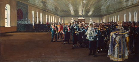 Boris Mikhailovich Kustodiev, 'Parade of the Finland Regiment of the Imperial Guard at Tsarskoe Selo, 12 December 1905'